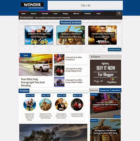 Wonder Magazine Multimedia Blogger Template