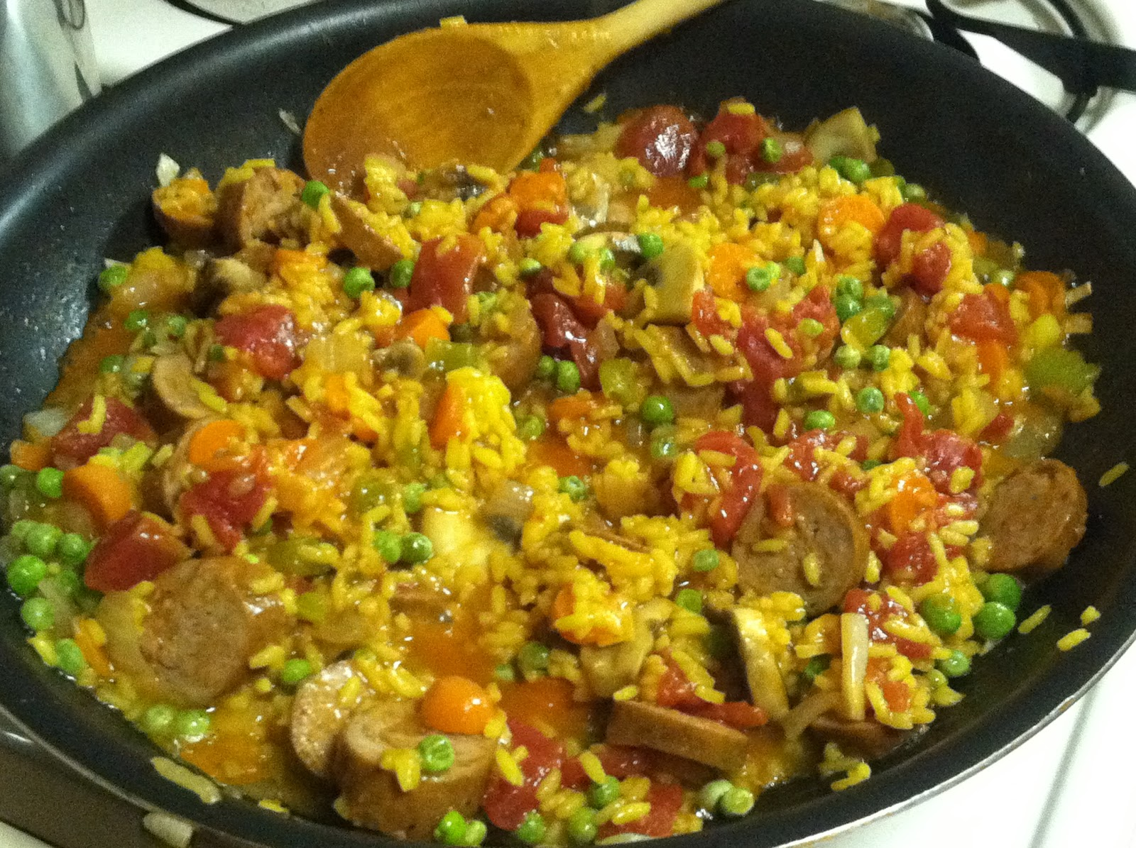 ... at a Time: Andouille Chicken Sausage with Saffron Rice and Veggies