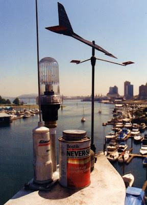 Wind vane and view from top of 72 foot aluminum spar