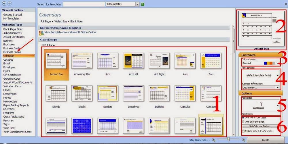 Pengenalan Tool Microsoft Publisher Untuk membuat Kalender