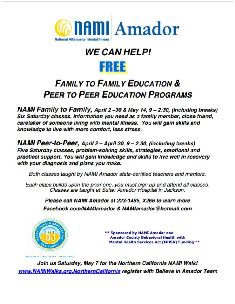 Nami F2F/P2P Education Classes - Begin in April