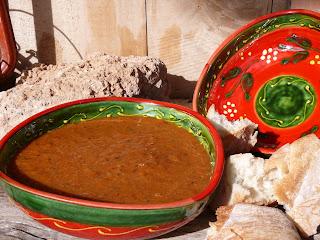 Tomato soup in Spanish ceramic bowls