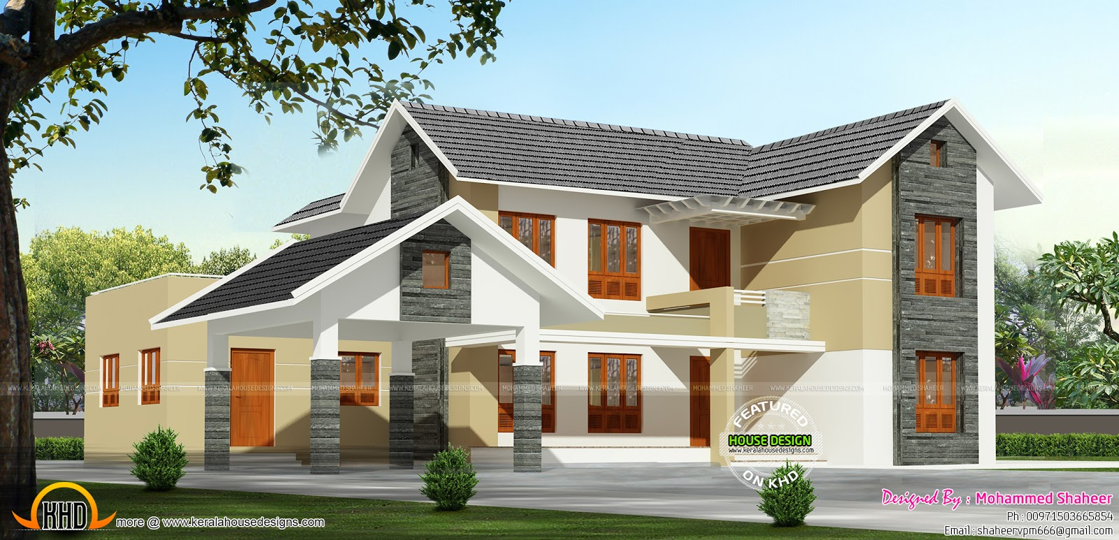 Sloped roof houses in kerala joy studio design gallery for Sloped roof house plans in india