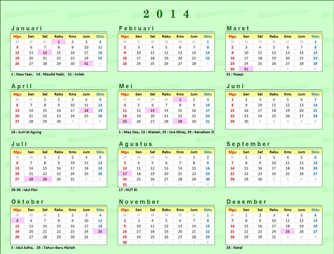 melihat keberadaan kalender 2014 dalam bentuk gambar diatas
