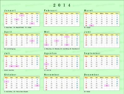 kalender 2014 dan Hari Libur Nasional