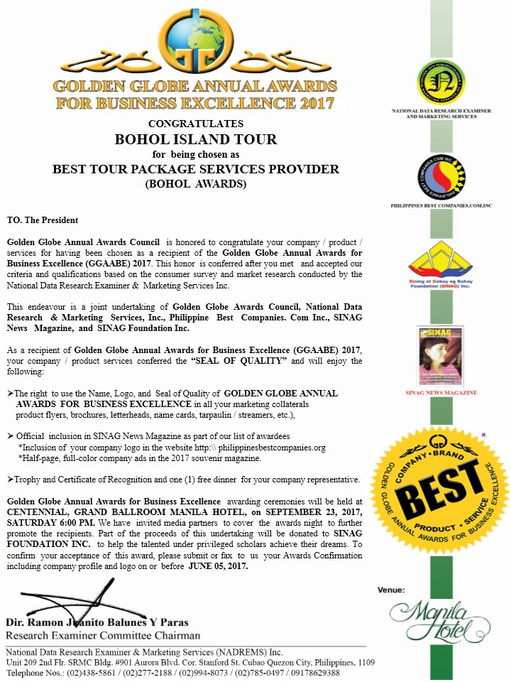 Best Travel and Tours Award 2017
