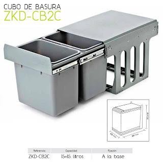 Cubo cocina extraible doble tu cocina y ba o - Cubos de basura extraibles ...