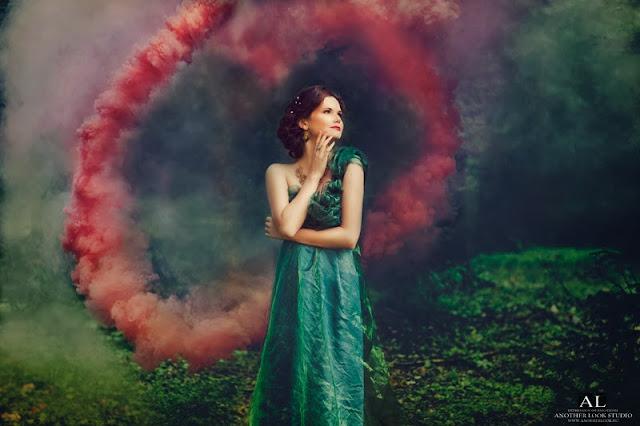 сказочная фея, лес, дымовая шашка