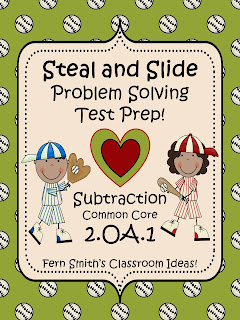 Fern Smith's TEST PREP for Valentine's Day - Subtraction Word Problems with STEAL and SLIDE!
