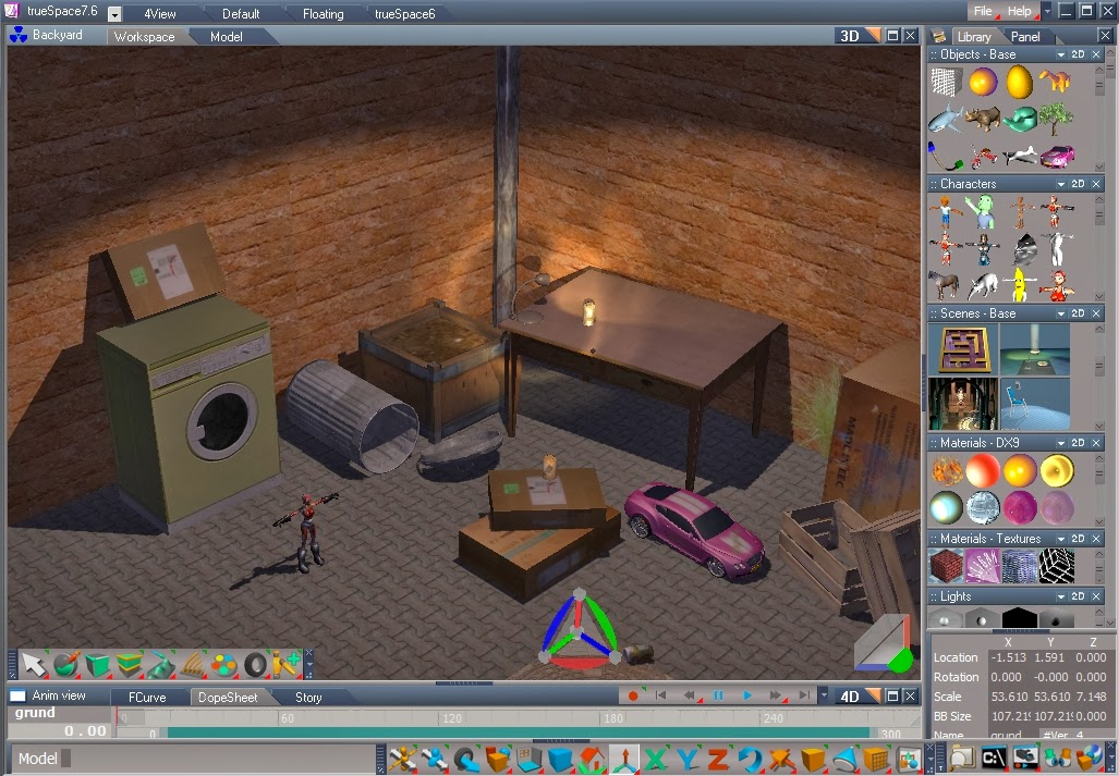 Free download 3d software modelling animation true space 76 Free 3d software