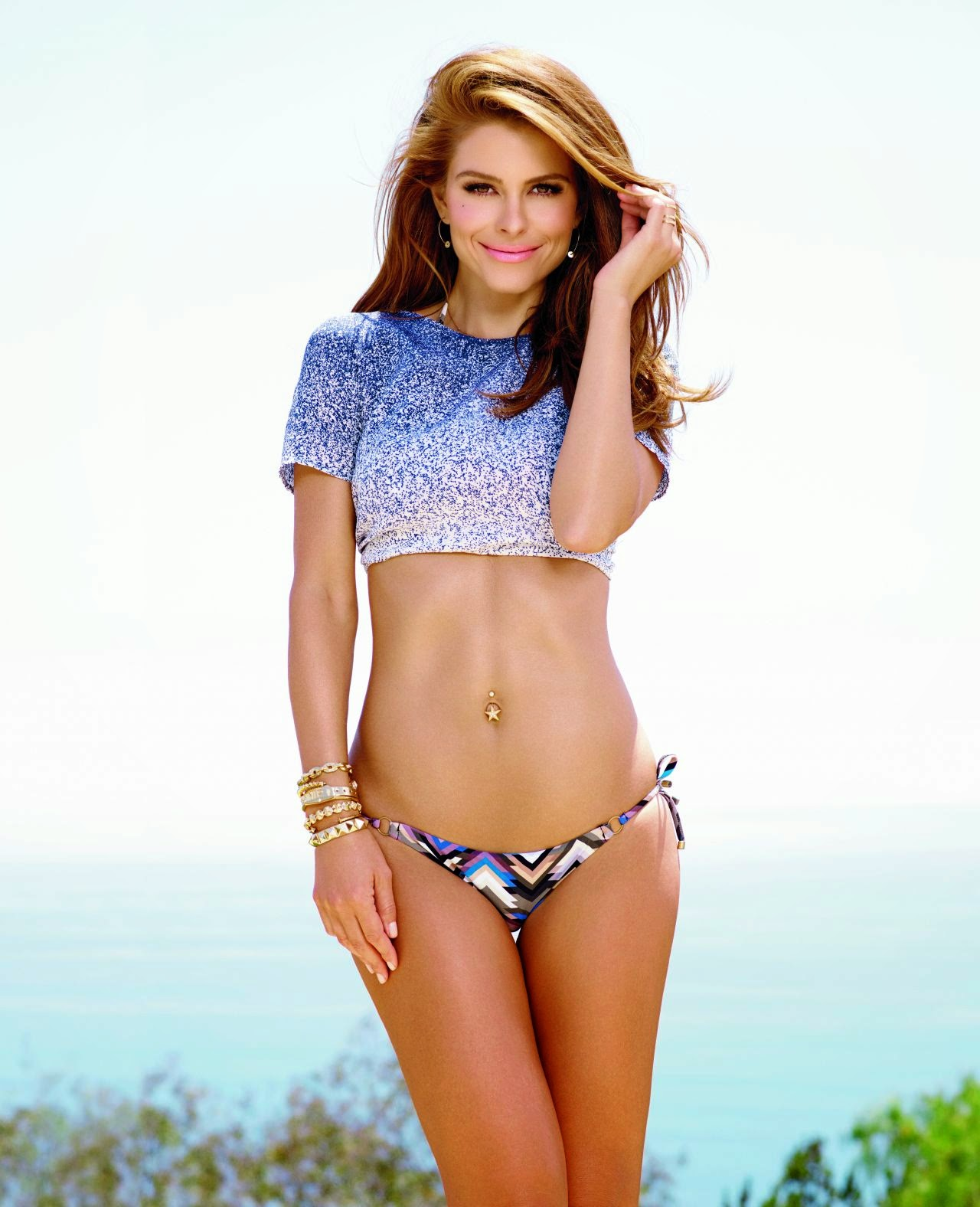 Maria Menounos flaunts bikini bottoms for Shape Magazine October 2014