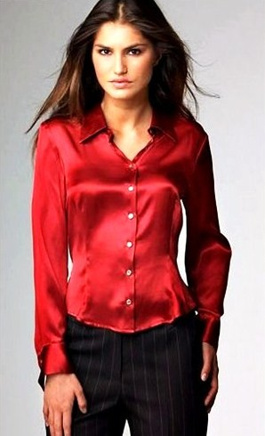 Women'S Red Satin Blouse 3