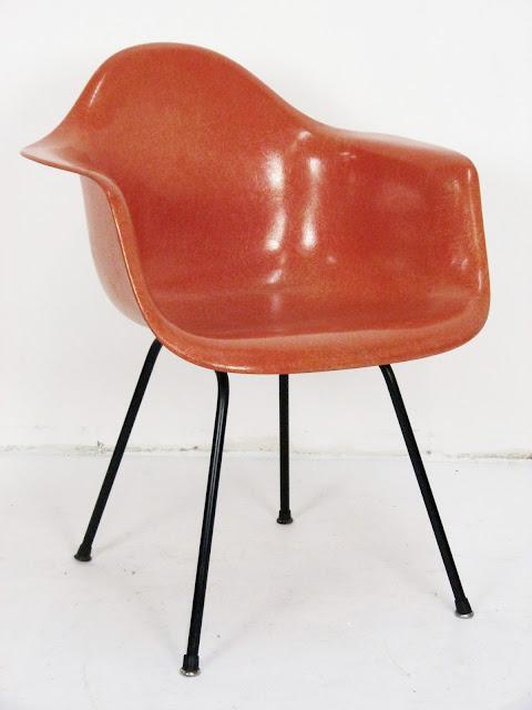 Herman Miller Eames Peach Red Fiberglass Shell Chair Black Base