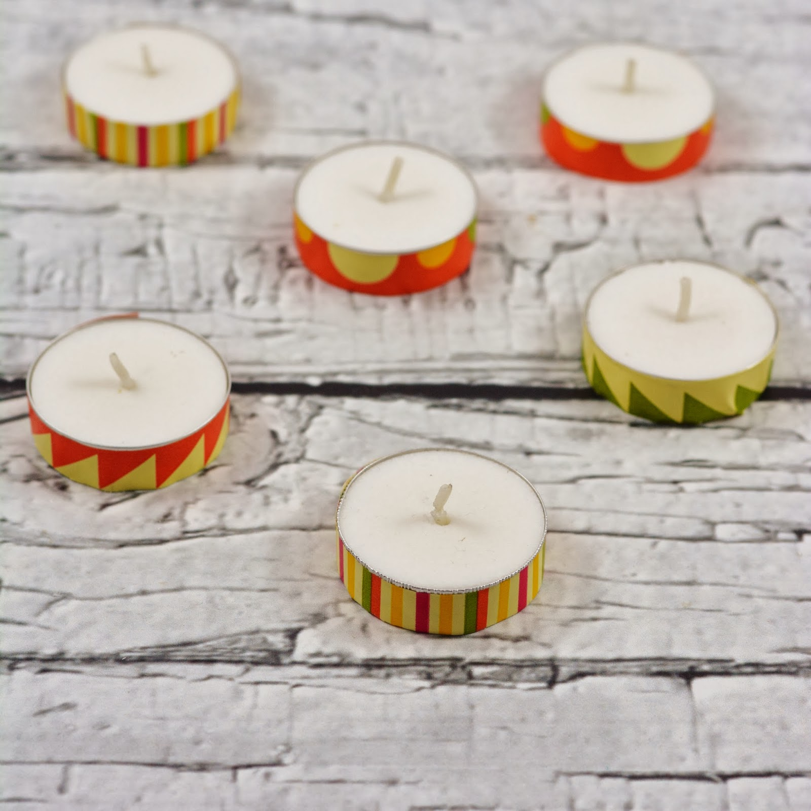washi tape tealight candles