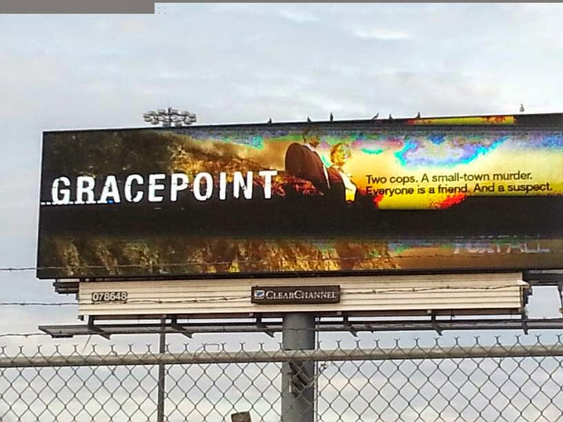 David Tennant on digital billboard advertisment for Gracepoint