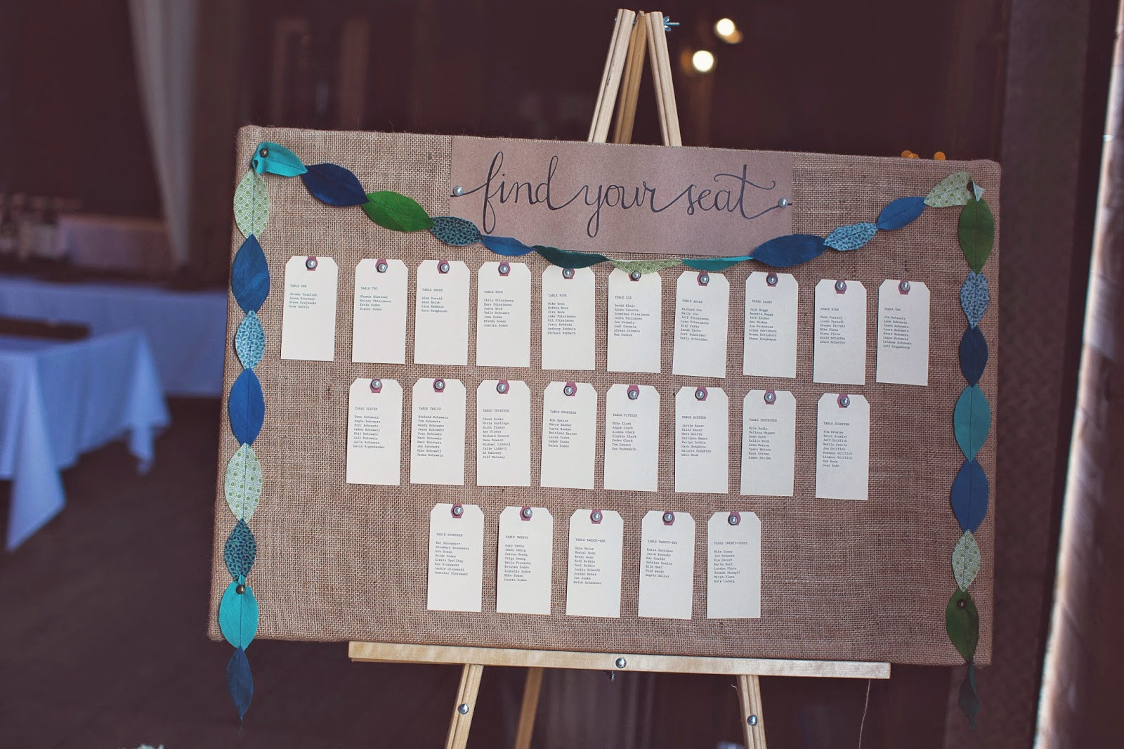 wedding reception burlap shipping tag seating chart