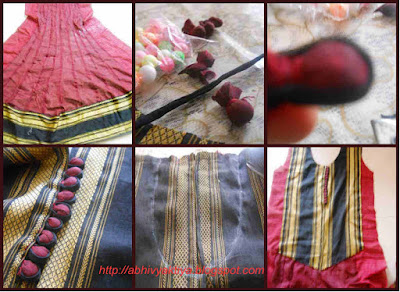 various steps invovled in making 24 panel anarkali including front patch