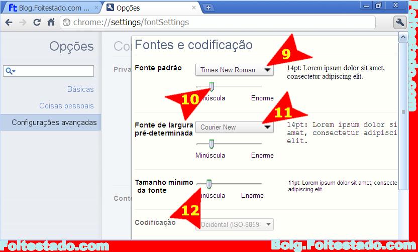 Como mudar tamanho e tipo de letra no Google Chrome