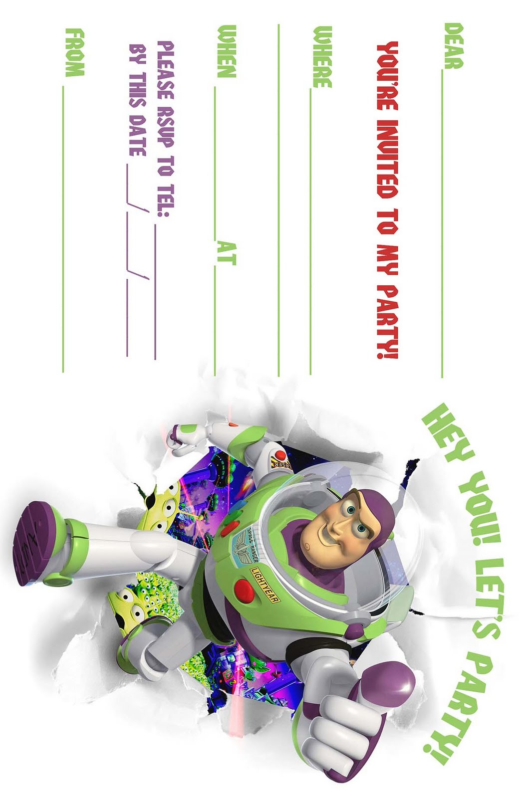 Free toy story woody and buzz lightyear party invitation for Toy story invites templates free