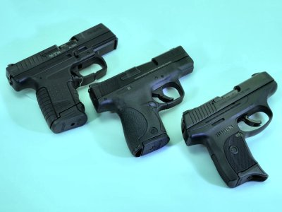 Compact pistols from Walther, Smith & Wesson, and Ruger.
