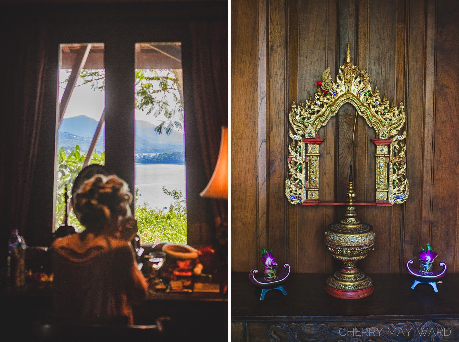 room with a view, Koh Samui classic Thai style villa on a hill, beautiful views of Bang Rak Beach, Thai ornaments, Thai decorations, Beautiful Thai Villa on a hill, Koh Samui, Thailand, villas perfect for wedding in Koh Samui