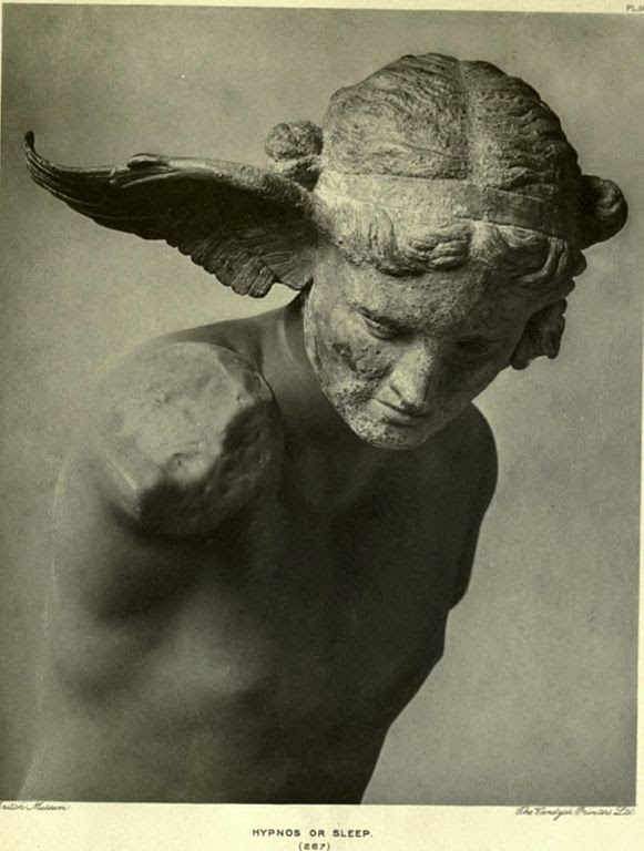 God Hypnos, Bronze sculpture found at Perugia Image: Walters, Henry Beauchamp, 1915 British Museum. Dept. of Greek and Roman Antiquities