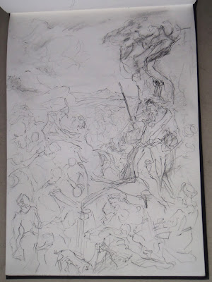 Moses stricking a rock - pencil on sketchbook