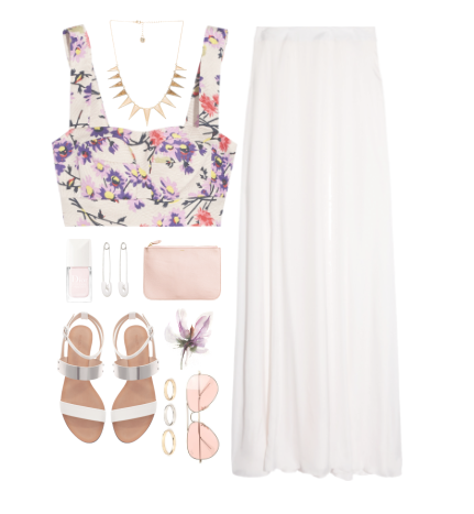 maxi skirt flowers outfit fashion