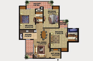 Livingston :: Floor Plans,Block B:-3 BHK (Type B)3 Bedroom, 2 Toilet, Kitchen, Dining, Drawing, 3 Balconies Super Area - 1425 Sq Ft