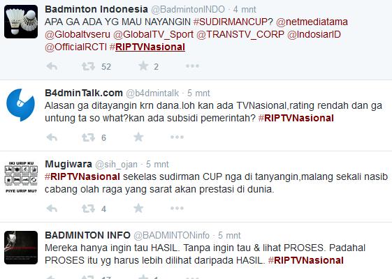 TV Nasional Tidak Ada yang tayangin Siaran Bulu tangkis #RIPTVNasional Langsung Tranding Topik Di twitter