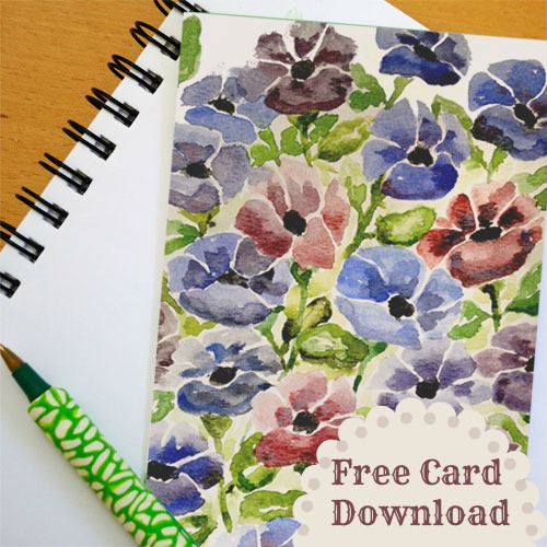 free printable card of flowers to download