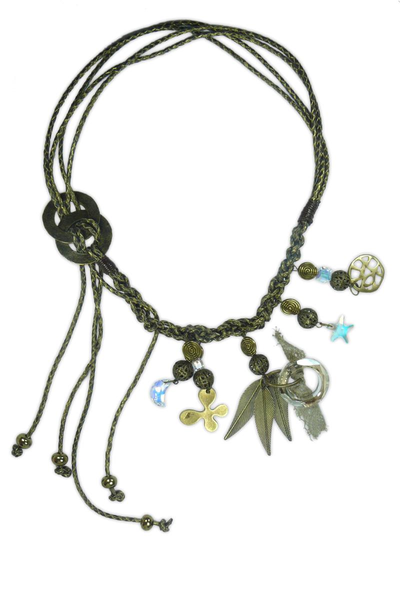 Just for you collar de cuero dorado - Collares de cuero ...