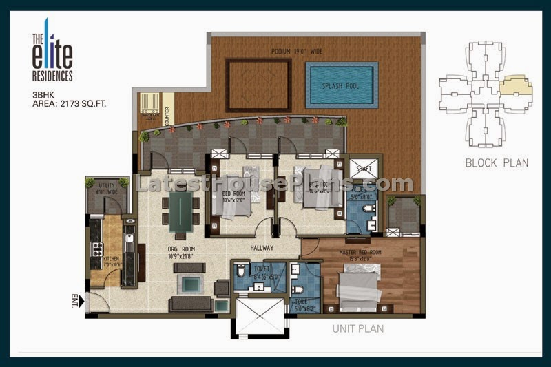 Large 3 Bedroom Apartment Floor Plan In Area Of 2200 Sft
