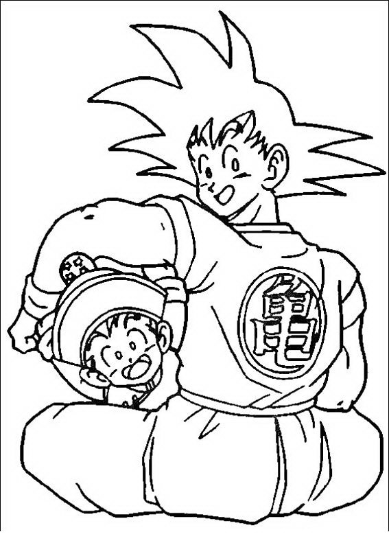 Goku con Gohan para colorear - Dibujo Views