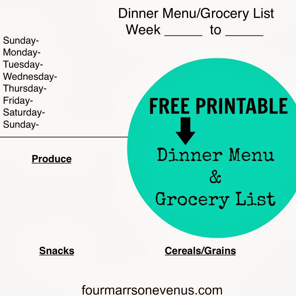 Dinner Menu and Grocery List