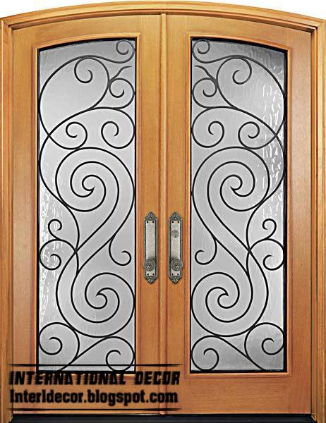Italian wrought iron glass door inserts for modern houses for Glass door with wooden frame