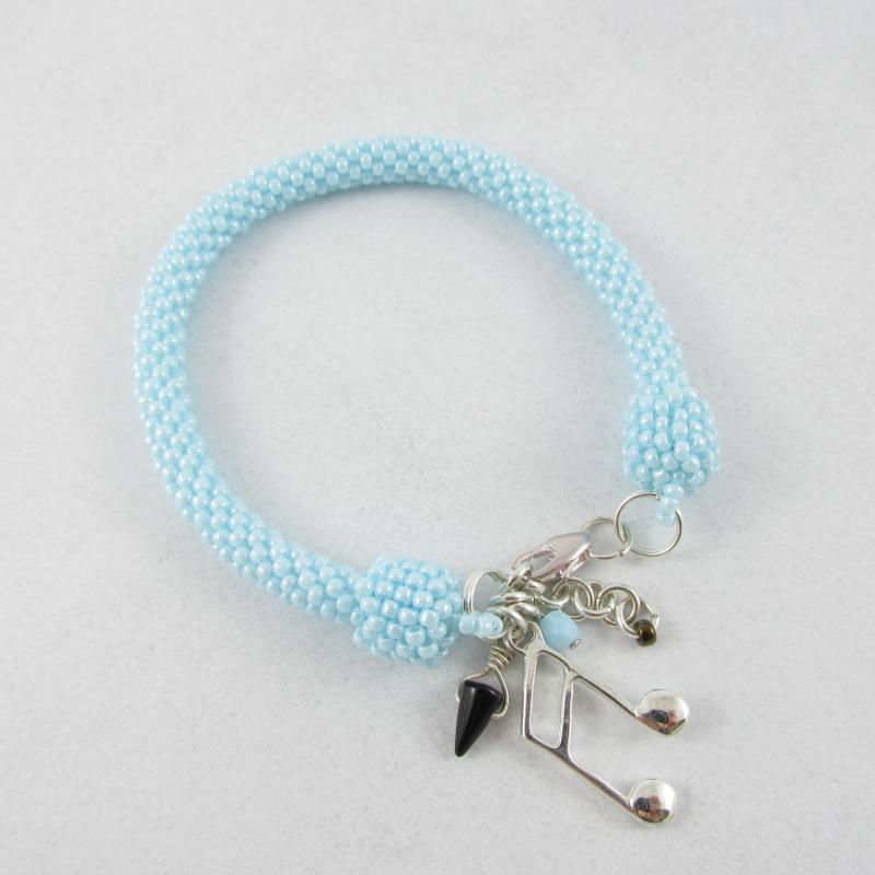 Bead crochet rope pale blue