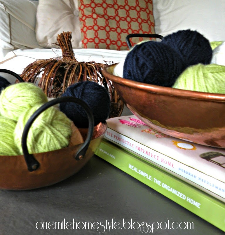 Copper bowls filled with yarn balls - fall decor