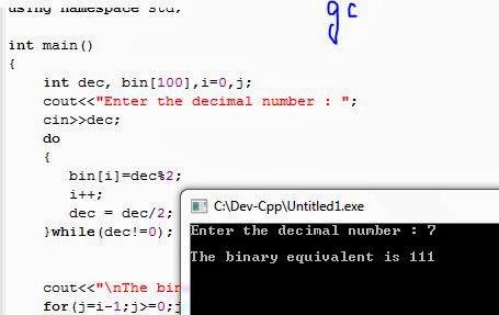 Binary to decimal conversion program in c language