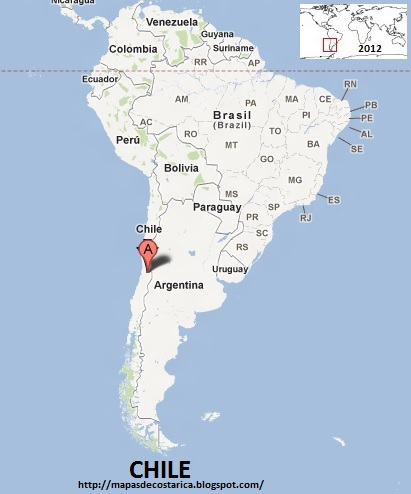 Ubicación de CHILE en Sudamérica, Google Maps