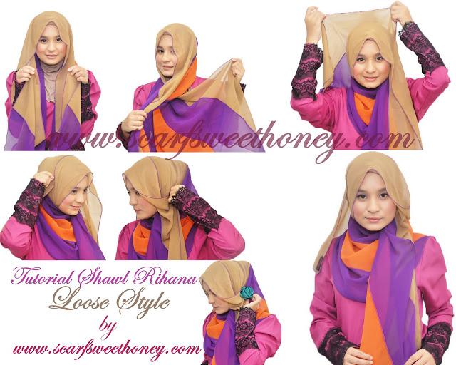 cara memakai hijab modern 3 warna