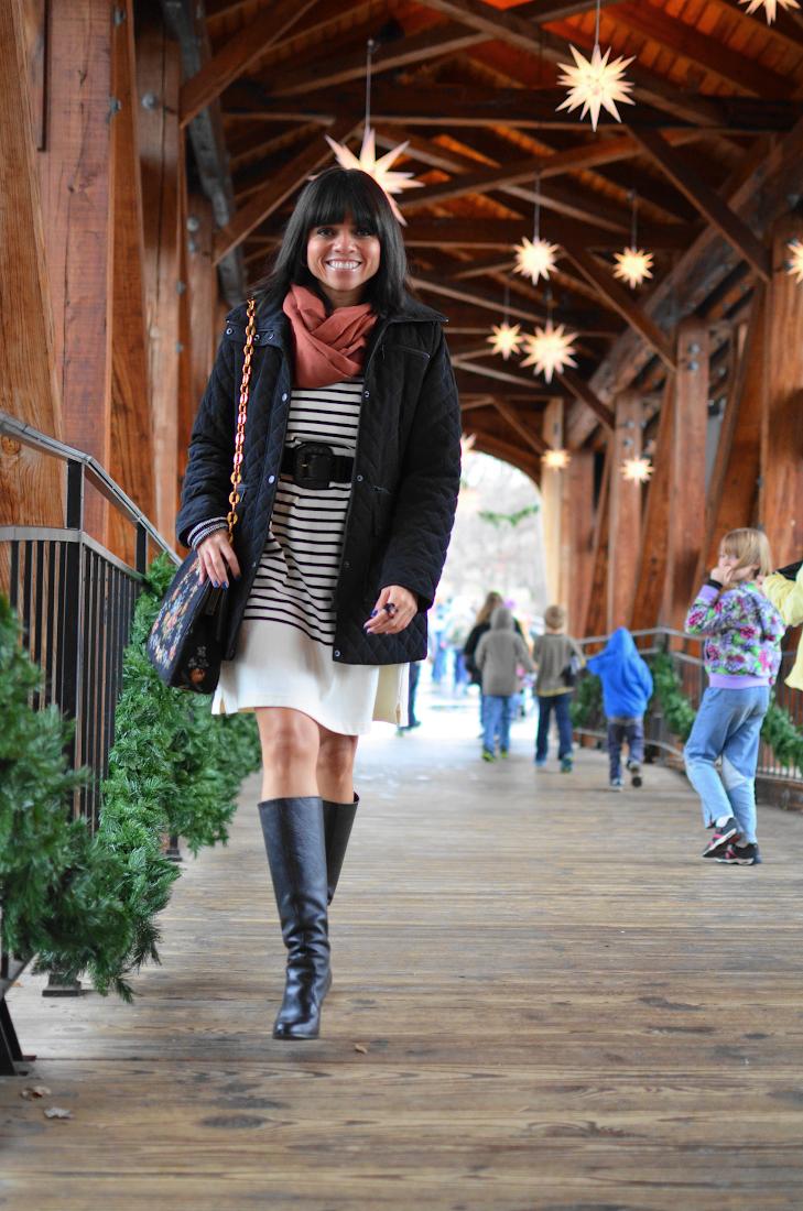 Striped Dress Puffer Coat Style Look