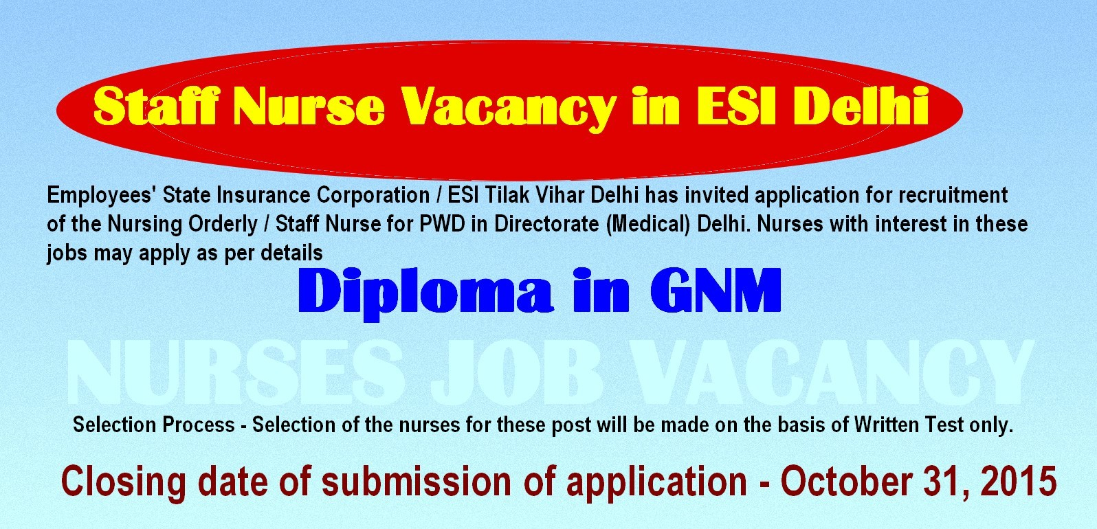 nurses job vacancy nursing orderly staff nurse vacancy in esi employees state insurance corporation esi tilak vihar delhi has invited application for recruitment of the nursing orderly staff nurse for pwd in