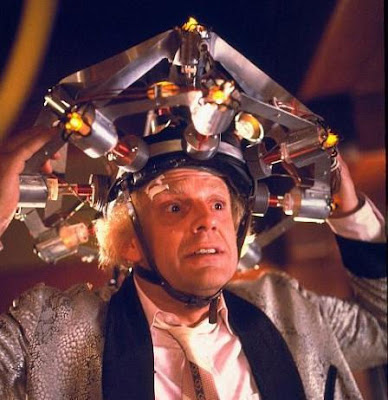 Emmet Brown is wearing a HeadLight, the latest in personal illumination appliances