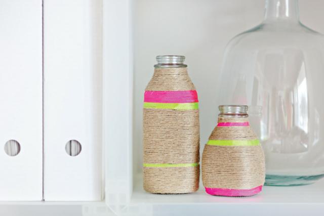 Tutorial Botellas decoradas con cuerda. DIY Rope Vases