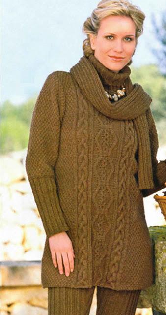 вязание спицами, комплект, шаль, пуловер, леггинсы,