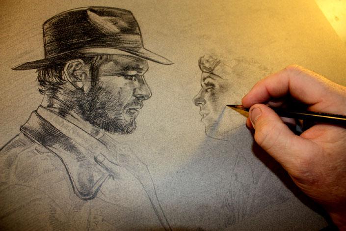 Indiana Jones & Marion Ravenwood, Artwork is Copyright © 2014 Jeff Lafferty
