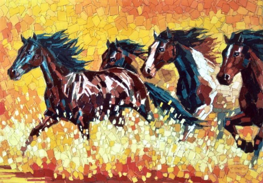 Cuadros modernos pinturas y dibujos briosos caballos for Cuadros horizontales modernos