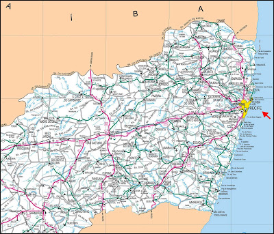 Mapa rodoviário com a localização de Recife
