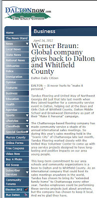 Tandus Flooring Gives Back to Dalton, Whitfield County